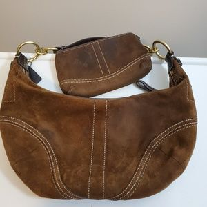Suede Coach Purse With Matching Wristlet Wallet